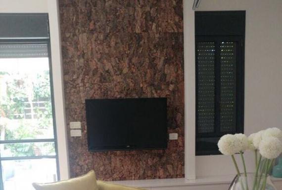 חיפויי קיר שעם בצבע חום לסלון
